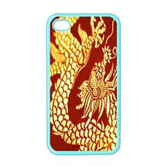 Fabric Pattern Dragon Embroidery Texture Apple Iphone 4 Case (color) by Simbadda