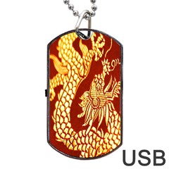 Fabric Pattern Dragon Embroidery Texture Dog Tag Usb Flash (two Sides) by Simbadda