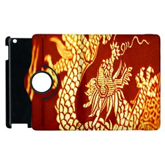 Fabric Pattern Dragon Embroidery Texture Apple Ipad 2 Flip 360 Case by Simbadda