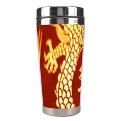 Fabric Pattern Dragon Embroidery Texture Stainless Steel Travel Tumblers by Simbadda
