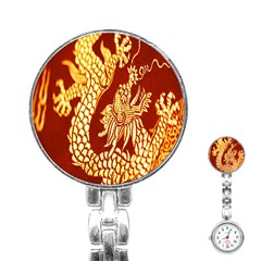 Fabric Pattern Dragon Embroidery Texture Stainless Steel Nurses Watch by Simbadda
