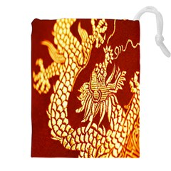 Fabric Pattern Dragon Embroidery Texture Drawstring Pouches (xxl) by Simbadda