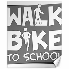 Bicycle Walk Bike School Sign Grey Canvas 16  X 20   by Alisyart
