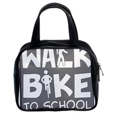 Bicycle Walk Bike School Sign Grey Classic Handbags (2 Sides) by Alisyart