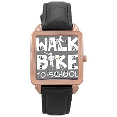 Bicycle Walk Bike School Sign Grey Rose Gold Leather Watch