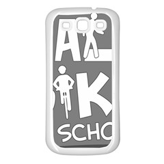 Bicycle Walk Bike School Sign Grey Samsung Galaxy S3 Back Case (white) by Alisyart