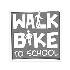 Bicycle Walk Bike School Sign Grey Small Satin Scarf (square)