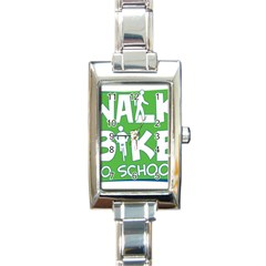 Bicycle Walk Bike School Sign Green Blue Rectangle Italian Charm Watch by Alisyart