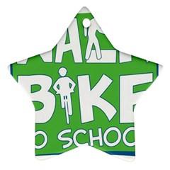 Bicycle Walk Bike School Sign Green Blue Ornament (star) by Alisyart