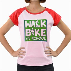 Bicycle Walk Bike School Sign Green Blue Women s Cap Sleeve T Shirt by Alisyart