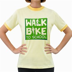 Bicycle Walk Bike School Sign Green Blue Women s Fitted Ringer T Shirts by Alisyart