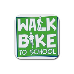 Bicycle Walk Bike School Sign Green Blue Rubber Square Coaster (4 Pack)