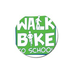 Bicycle Walk Bike School Sign Green Blue Magnet 3  (round)
