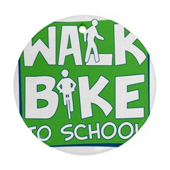 Bicycle Walk Bike School Sign Green Blue Round Ornament (two Sides)