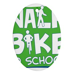 Bicycle Walk Bike School Sign Green Blue Oval Ornament (two Sides) by Alisyart
