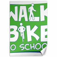 Bicycle Walk Bike School Sign Green Blue Canvas 12  X 18   by Alisyart