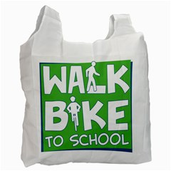 Bicycle Walk Bike School Sign Green Blue Recycle Bag (one Side) by Alisyart
