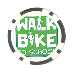 Bicycle Walk Bike School Sign Green Blue Poker Chip Card Guard (10 Pack)