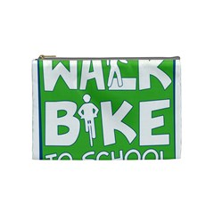 Bicycle Walk Bike School Sign Green Blue Cosmetic Bag (medium)