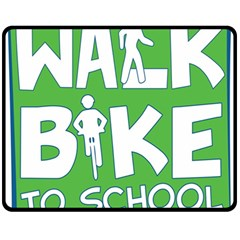 Bicycle Walk Bike School Sign Green Blue Fleece Blanket (medium)