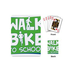 Bicycle Walk Bike School Sign Green Blue Playing Cards (mini)  by Alisyart