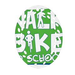 Bicycle Walk Bike School Sign Green Blue Ornament (oval Filigree)