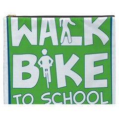 Bicycle Walk Bike School Sign Green Blue Cosmetic Bag (xxxl)  by Alisyart