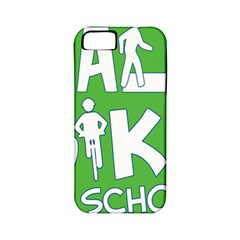 Bicycle Walk Bike School Sign Green Blue Apple Iphone 5 Classic Hardshell Case (pc+silicone)
