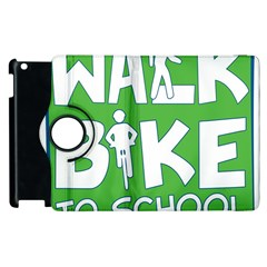 Bicycle Walk Bike School Sign Green Blue Apple Ipad 3/4 Flip 360 Case by Alisyart