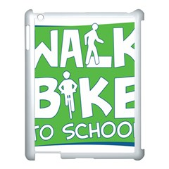 Bicycle Walk Bike School Sign Green Blue Apple Ipad 3/4 Case (white)