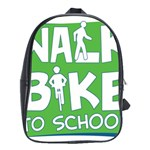 Bicycle Walk Bike School Sign Green Blue School Bags (XL)  Front