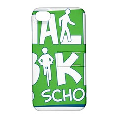 Bicycle Walk Bike School Sign Green Blue Apple Iphone 4/4s Hardshell Case With Stand