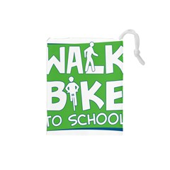 Bicycle Walk Bike School Sign Green Blue Drawstring Pouches (small)  by Alisyart