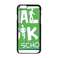 Bicycle Walk Bike School Sign Green Blue Apple Iphone 6/6s Black Enamel Case