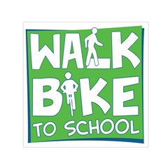 Bicycle Walk Bike School Sign Green Blue Small Satin Scarf (square)