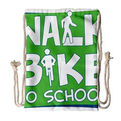Bicycle Walk Bike School Sign Green Blue Drawstring Bag (large) by Alisyart