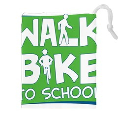 Bicycle Walk Bike School Sign Green Blue Drawstring Pouches (xxl) by Alisyart