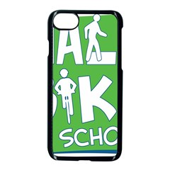 Bicycle Walk Bike School Sign Green Blue Apple Iphone 7 Seamless Case (black) by Alisyart