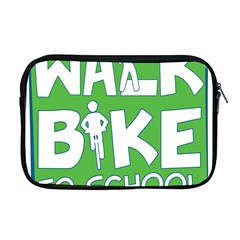 Bicycle Walk Bike School Sign Green Blue Apple Macbook Pro 17  Zipper Case by Alisyart