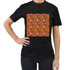 Wine Cheede Fruit Purple Yellow Orange Women s T-shirt (black) (two Sided) by Alisyart