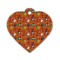 Wine Cheede Fruit Purple Yellow Orange Dog Tag Heart (one Side) by Alisyart