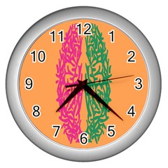 Brian Pink Green Orange Smart Wall Clocks (silver)  by Alisyart