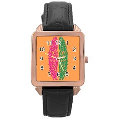 Brian Pink Green Orange Smart Rose Gold Leather Watch  by Alisyart