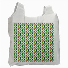 Chevron Wave Green Orange Recycle Bag (two Side)  by Alisyart