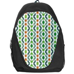 Chevron Wave Green Orange Backpack Bag by Alisyart