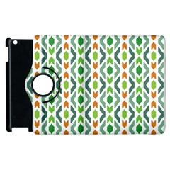 Chevron Wave Green Orange Apple Ipad 3/4 Flip 360 Case by Alisyart