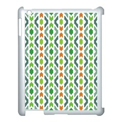 Chevron Wave Green Orange Apple Ipad 3/4 Case (white) by Alisyart