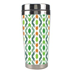 Chevron Wave Green Orange Stainless Steel Travel Tumblers by Alisyart