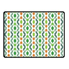 Chevron Wave Green Orange Double Sided Fleece Blanket (small)  by Alisyart