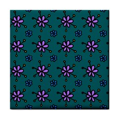 Blue Purple Floral Flower Sunflower Frame Tile Coasters by Alisyart